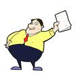 comic cartoon boss waving papers vector image vector image
