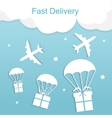 Concept of fast delivery airplane with gift boxes vector image vector image