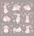 cute rabbits sleeping runnung sitting lovely vector image vector image