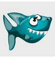 Cute toothy blue fish shark with big eyes vector image vector image