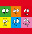 different facial emotions on color background vector image
