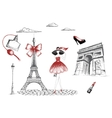 Fashion girl walking in the Paris vector image