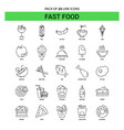 fast food line icon set - 25 dashed outline style vector image