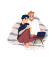 gay couple covered with plaid cuddling vector image vector image