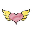 grated heart with wings symbol love art