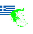 greece map and flag set vector image