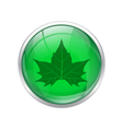 Green leaf button vector image