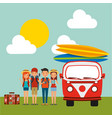 group tourists baggage and retro van surfing vector image vector image