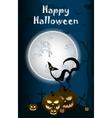 halloween black cat on moon background vector image