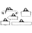 hand drawing set halloween frames with grim vector image