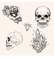 Hand drawn set sketch scull tattoo line art vector image vector image