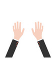 hands up in business suit vector image