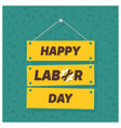 happy labor day on green patterened background vector image vector image