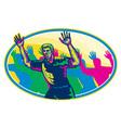Happy Marathon Runner Running Oval Retro vector image vector image