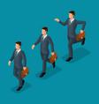 isometric set 3d businessmen business scene vector image