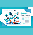 landing page for business and increase in revenue vector image vector image
