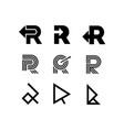 logo letter r arrow vector image