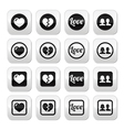 Love heart couple buttons for Valentines day vector image vector image