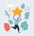 man hold a big gold starin his hands vector image vector image