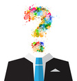 Man in Suit with Colorful Splashes Question Mark vector image vector image