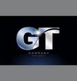 Metal blue alphabet letter gt g t logo company vector image
