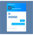 modern live chat window for web pages vector image vector image