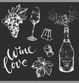 monochrome hand-drawn wine set on dark background vector image vector image