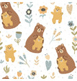 mother bear with her baseamless pattern vector image vector image