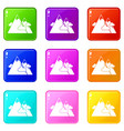 mountains icons set 9 color collection vector image