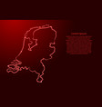 netherlands map from contour red brush lines vector image vector image