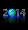 new year 2014 metal numerals with earth instead vector image vector image