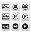 No parking cars buttons set vector image