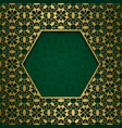 ornamental background with hexagonal frame vector image