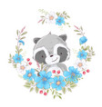 postcard poster cute little raccoon in a wreath of vector image vector image