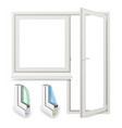 realistic plastic window with door vector image vector image