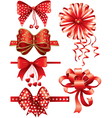 Red bows with hearts vector image vector image