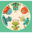 Retro Robots Card vector image vector image