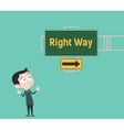 right way arrow guide with sign board with green vector image vector image