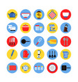 round icon set of kitchen tools in colored circles vector image vector image