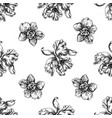 seamless pattern with black and white orchid vector image vector image