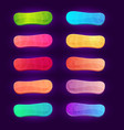 set 10 colorful game buttons on dark background vector image