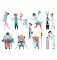 set male scientists characters in laboratory vector image vector image