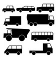 set of icons with wheeled vehicles vector image