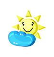 smiling sun emoji with cloud bright glossy smile vector image