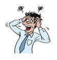 stressed businessman at work grabbed his head vector image vector image