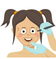 surgeon drawing marks on female face vector image