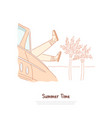 tourist relax on exotic beach recreation on vector image vector image