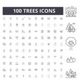 trees line icons signs set outline vector image vector image