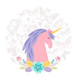 unicorn dream flat on round background vector image