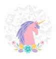 unicorn dream flat on round background vector image